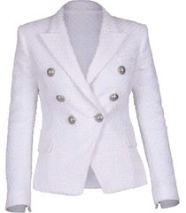 blanc six button tweed jacket