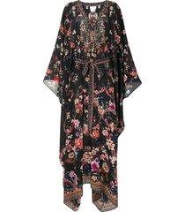 camilla draped tie-waist kaftan dress - black