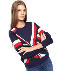 sweater azul tommy hilfiger abina graphic c-nk swtr