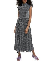 printed flutter-sleeve midi dress