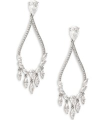 adriana orsini women's rhodium-plated & crystal chandelier earrings