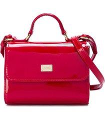 dolce & gabbana kids bolsa de couro com logo - vermelho