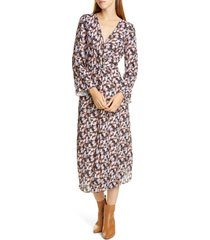 women's vince micro painted floral twist front long sleeve dress