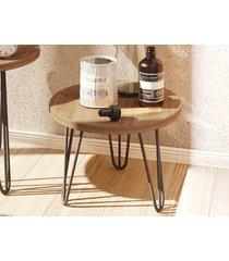 mesa lateral com pés de ferro 30 cm iron buriti - líder design