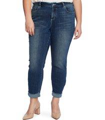 plus size women's cece polka dot cuff jeans, size 24w - blue