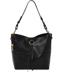 fossil women's ada leather bucket bag
