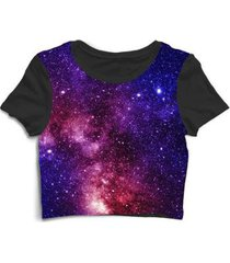 blusa feminina cropped tshirt galáxia espaço alien rolê - feminino