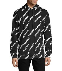 eleven paris men's playboy cotton hoodie - black - size l