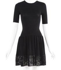 louis vuitton sequin lv wool knit dress black sz: xs