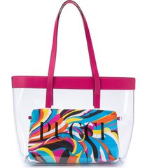 emilio pucci junior bolsa tiracolo com logo - rosa
