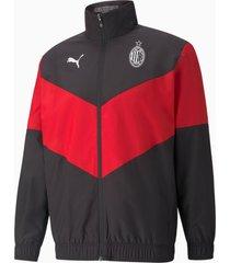 ac milan prematch heren voetbal jas, rood/zwart, maat l   puma