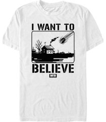 fifth sun men's i want to believe falling meteor poster short sleeve t- shirt