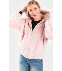 dana faux fur hoodie - pink