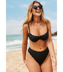 hunkemöller högt skuren bikiniunderdel scallop glam svart
