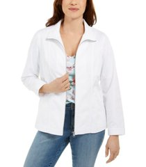 karen scott solid zip-front twill jacket, created for macy's