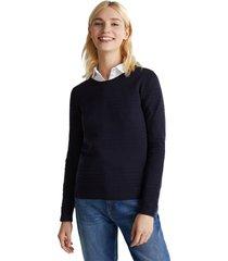 sweater algodón acanalado azul marino esprit