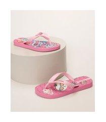 chinelo infantil ipanema estampado de gata de skate rosa