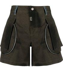 diesel tie dye print cargo shorts - green