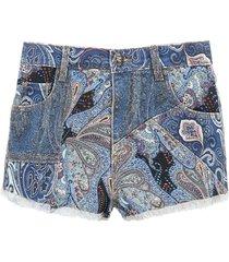 etro ibiza denim shorts