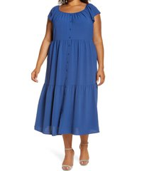 plus size women's maggy london tiered swing shirtdress, size 22w - blue
