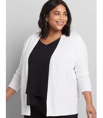 lane bryant women's lane essentials rib-trim cardigan 14/16 white