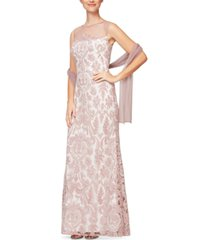 alex evenings embroidered dress & shawl, created for macy's