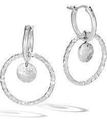 women's john hardy dot hammered interlink earrings