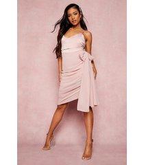 petite gedrappeerde jurk met asymmetrische zoom, rose