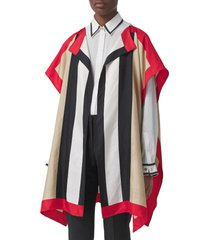 burberry icon stripe silk twill cape in archive beige at nordstrom