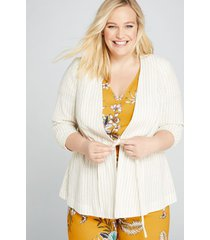 lane bryant women's striped drawstring peplum jacket 18p white and tan stripe