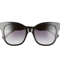 rebecca minkoff martina 52mm cat eye sunglasses in black/dark grey at nordstrom