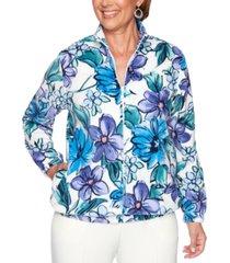 alfred dunner petite classics floral-print rhinestone-embellished jacket