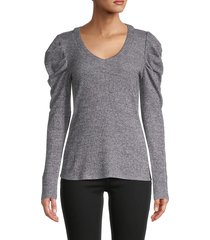for the republic women's long puffed-sleeve sweater - grey heather - size s
