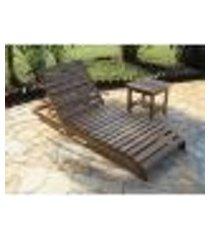 kit espreguiçadeira em madeira paris + 01 mesa lateral 45x45 robust