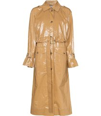 rejina pyo belted laminated cotton trench coat - brown