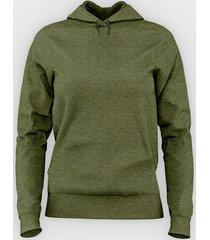 damska bluza z kapturem taliowana (gładka, zielona)