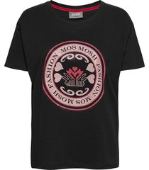 leah ss tee t-shirts & tops short-sleeved svart mos mosh