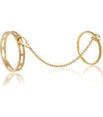 anel gap duplo amarelo com diamante branco