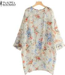 zanzea más el tamaño de las mujeres de manga larga de gasa kimono cardigan chaqueta de la capa superior del bañador -blanco