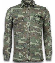 overhemd lange mouw bb bread buttons - slim fit lange mouwen - camouflage pattern -