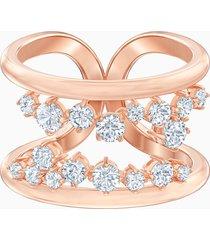 anello con motivo north, bianco, placcato oro rosa