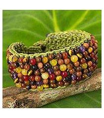 multi-gem beaded bracelet, 'green jazz combo' (thailand)