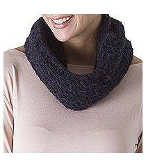 100% alpaca neck warmer, 'intense midnight' (peru)