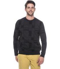 suéter slim jacquard passion tricot drew black star - kanui