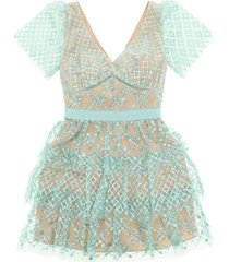self-portrait grid sequin tiered mini dress