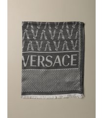 versace scarf versace jacquard scarf in silk and wool