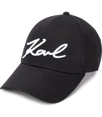 karl lagerfeld logo embroidered panelled cap - black