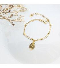 bransoletka z pawim piórkiem , złote pióro
