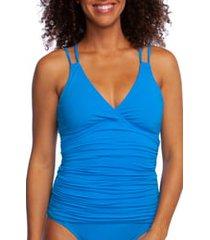 women's la blanca island goddess underwire tankini top, size 12 - blue