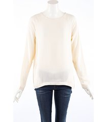 brunello cucinelli cream silk long sleeve top cream sz: m